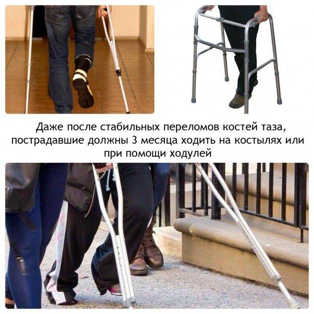 Даже если у человека ничего не болит, три месяца следует ходить на костылях