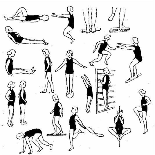 примеры упражнений с мячем, скакалкой, стенкой, канатом