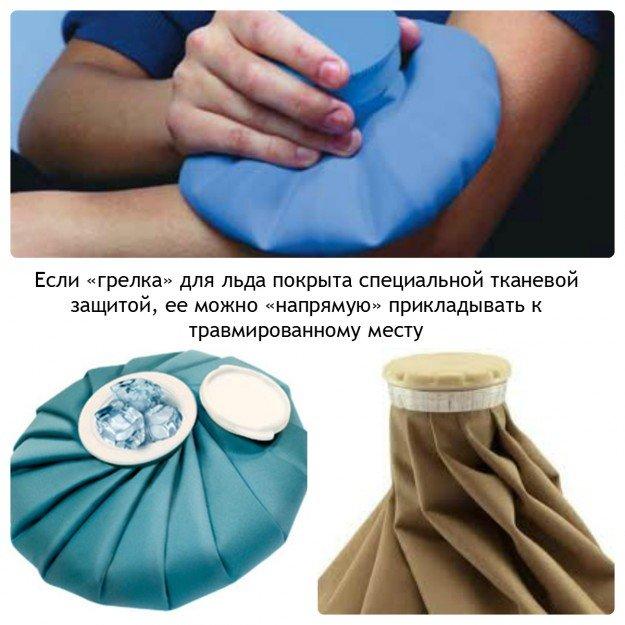 Пузырь для льда имеющий тканевое покрытие можно прикладывать прямо к коже