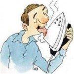 на картинке мужчина прижигает язык утюгом