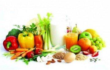 овощи, фрукты, молоко и сок